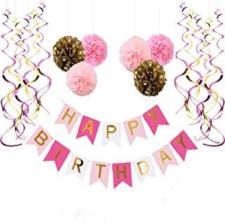 Happy Birthday Banner, With 6 Pom Pom Color Gold, Pink And Dark Pink, With 6 Hanging Swirls Pink and Gold, Birthday Decorations