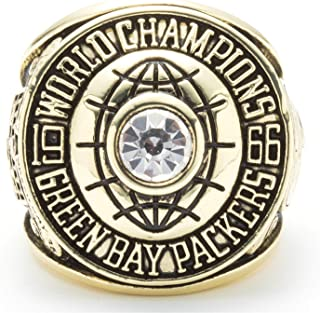Twcuy 1966-1967 Green Bay Packers Football Super Bowl I Championship Replica Ring for Fans Men's Gift Size 9-13