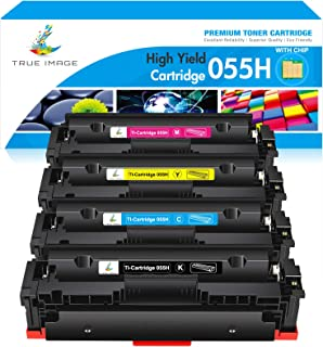 True Image Compatible Toner Cartridge Replacement for Canon 055H 055 High Yield Canon Color ImageCLASS MF743Cdw MF741Cdw MF746Cdw MF743 Printer Toner with Chip (Black Cyan Yellow Magenta, 4-Pack)