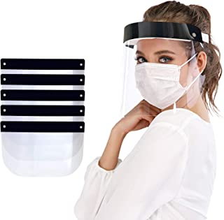Protective Face Shield 5 Pack, Waterproof Dustproof Full Face Shield with Clear Wide Visor, Reusable Safety Face Shield wi...