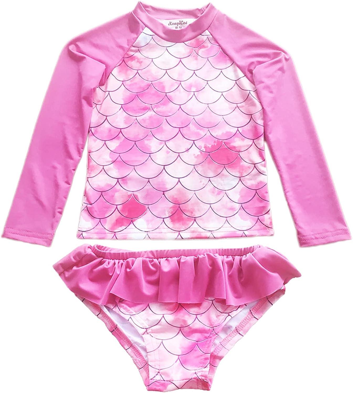 XonyiCos Easy-to-use Little Max 75% OFF Girls Rash Guard Swimsuit Long Set Two Sleeve P