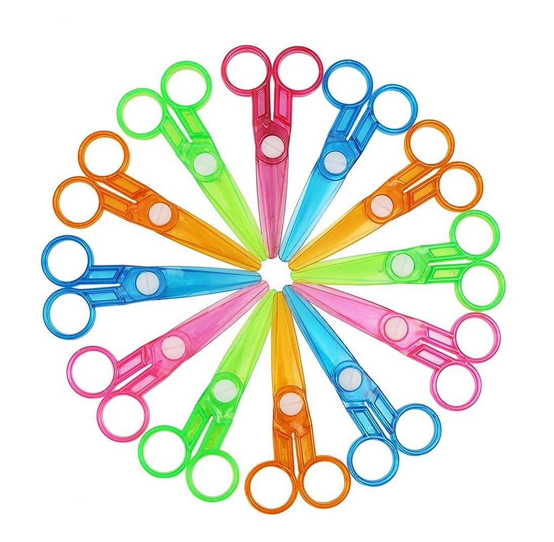 Assorted Color Plastic Preschool Training Scissors Art DIY Craft Paper Cutting Stationery for Kids (12Pcs)