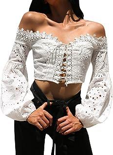 Blouses for Women,Sale💖Women Off Shoulder Long Sleeve Hollow Lace Loose Blouse Tops T-Shirt