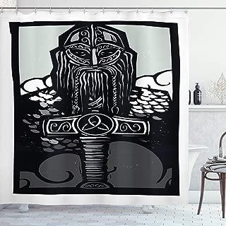 Lunarable Viking Shower Curtain, Thor Son of Odin Monochrome Design Guardian of Asgard Scandinavian Culture, Cloth Fabric Bathroom Decor Set with Hooks, 70