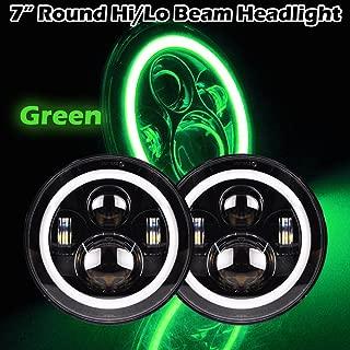 Omotor Pair 40W 7 Inch Round Osram Led Headlight Bulb Green Halo Angle Eyes High/Low Beam 97-16 Jeep Wrangler JK TJ(7 Inch Round Halo Black Housing)