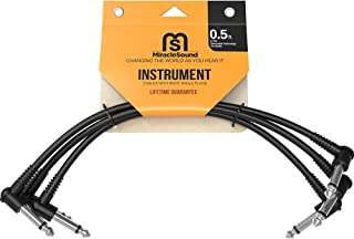 Miracle Sound Guitar Patch Cable for Pedalboard Effects with Right Angle Plug 3-Pack Ideal Electric Guitar and Bass Livewire Cable (0.5 Feet)