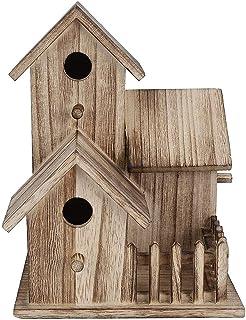 صندوق عش طيور خشبي صغير لتزيين الحيوانات الأليفة مزود مزود بشارات مقاس واحد (اللون: بني , الحجم: 20.5 × 15.5 × 15.5 سم)