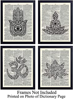Zen Unframed Dictionary Wall Art Prints - Perfect Gift for Meditation, Yoga or Zen Enthusiasts - Chic Home or Studio Decor - Set of Four Ready to Frame (8x10) Vintage Photos