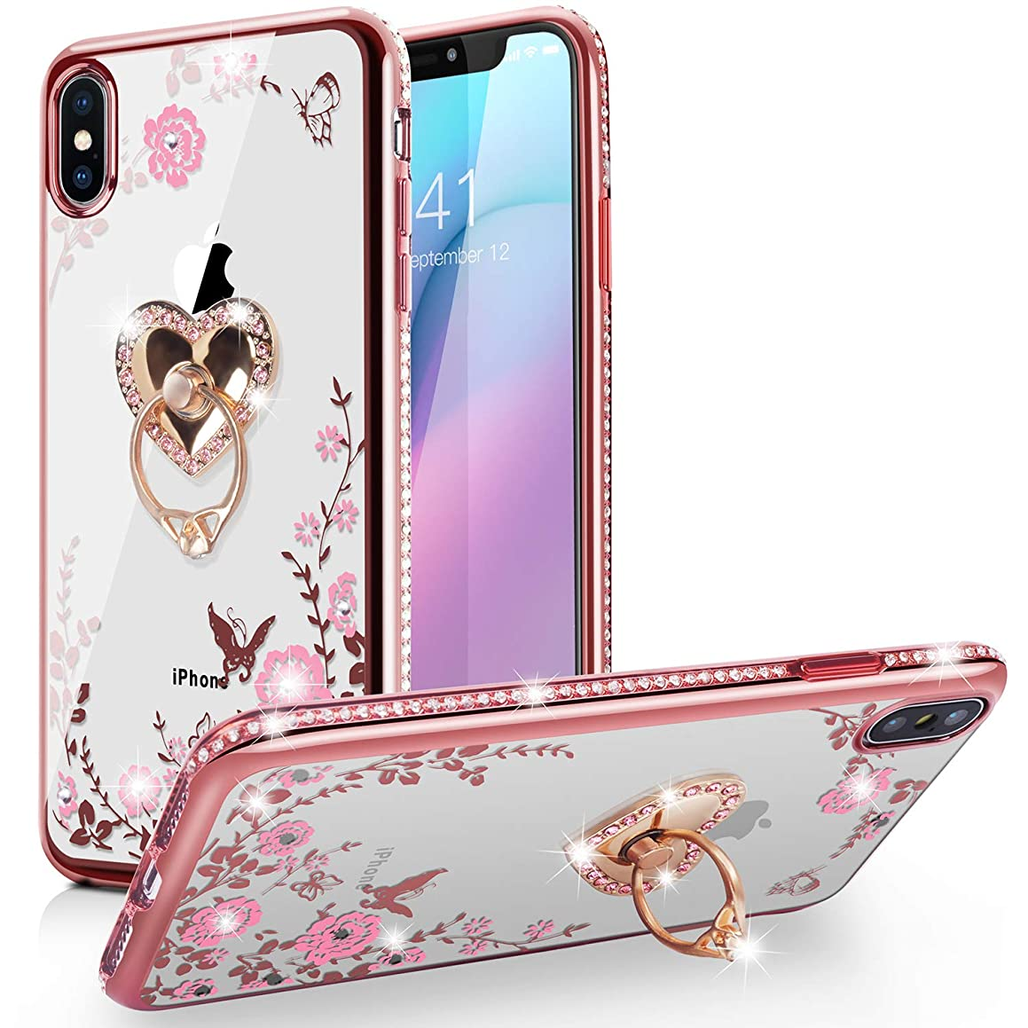 iPhone Xr Case,WATACHE Glitter Sparkles Diamond Floral Butterfly Crystal Soft TPU Protective Cover with Bling Heart Shape Ring Grip Stand + Electroplated Edge for iPhone Xr - Shiny Gold