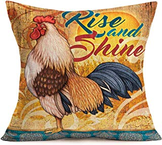 Smilyard Farmhouse Pillow Covers Animal Rooster Painting Throw Pillow CaseQuotesRise and Shine Cushion Cover Home Decor for Sofa Couch Bed Car 18x18 Inch (Retro Rooster 01)