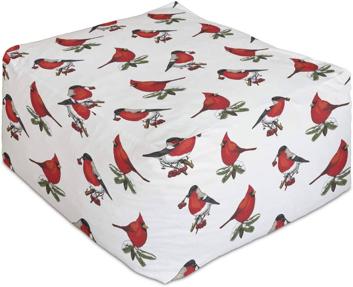 Lunarable Bird Rectangle Pouf New Credence arrival Pattern with Card Bullfinches and