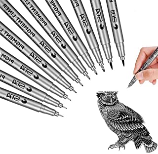 SAYEEC 10pcs Black Fineliner Micro Pen Set with Brush Fine Tip Journal Ink Pens Various Size Tip Pigment Drawing Pens for ...