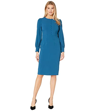 Maggy London Solid Crepe Sheath Dress with Self Covered Buttons (Spruce) Women