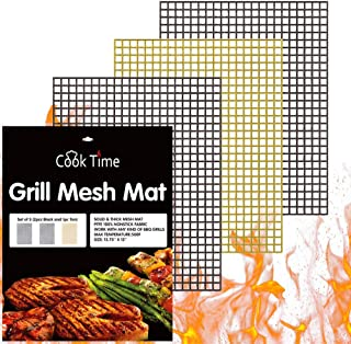 BBQ Grill Mesh Mat Set of 3 - Non Stick Barbecue Grill Sheet Liners Teflon Grilling Mats Nonstick Fish Vegetable Smoking A...