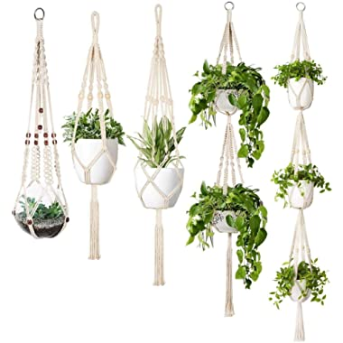 Mkono Macrame Plant Hanger Set of 5 Indoor Wall Hanging Planter Basket Flower Pot Holder Boho Home Decor Gift Box