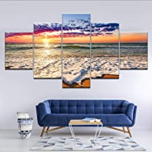 smydp Prints Modular Canvas Wall Art Hd Prints Pictures 5 Pieces Sea Wave Beach Sunset Seascape Paintings Living Room Decor Postersframe