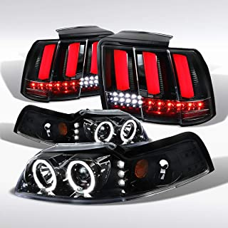 Autozensation For Mustang Black Dual Halo Projector Headlights Sequential LED Tail Lights