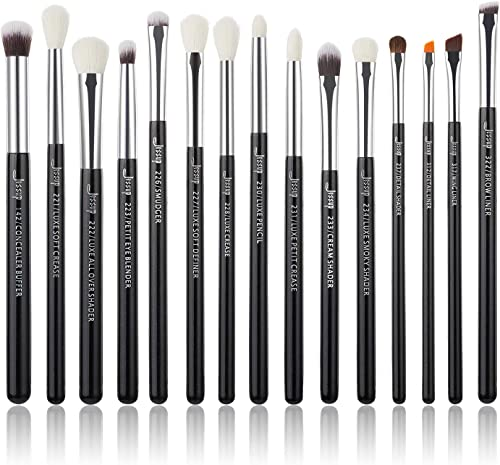 Jessup 15Pcs Professional Makeup Brushes Set Make up Brush Tools kit Cosmetics Tools Eye Liner Shader Wood Handle Nat...