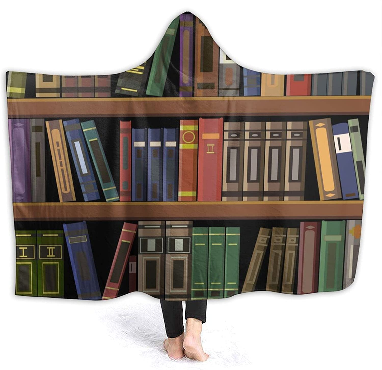 OcuteO Hooded Max 44% OFF Luxury goods Blanket Vintage Bookshelves Retro Shelves Wea Book