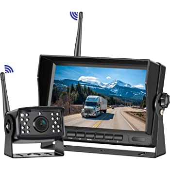 Bus HD Digital Wireless Backup Camera Kit 5th Wheel High-Speed Observation System for Trailers Motorhomes Trucks Niloghap IP69 Waterproof Rear View Camera and 7/″ Split//Quad Screen DVR Monitor