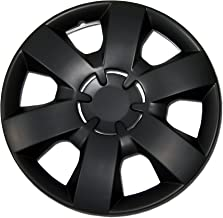 TuningPros WC-14-226-B 14-Inches Pop On Type Improved Hubcaps Wheel Skin Cover Matte Black Set of 4
