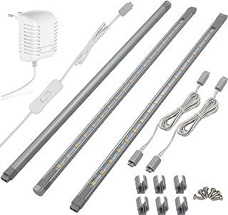 LED luminaire sous meuble plat, par 36cm, 288lm, éclairage pour Armoire/Placard/Escalier/Couloir, Blanche, lot de 3