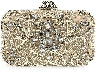 GLJJQMY Evening Bag Exquisite Beaded Dress Bride Fashion Wallet Cosmetic Bag Shoulder Bag Evening Bags (Color : Gold, Size : 18.5x11x6cm)