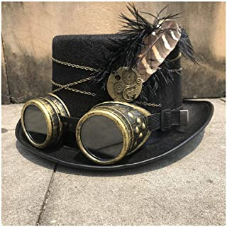 SHENTIANWEI Unisex Men Women High-end Handmade Steampunk Top Hat with Gear Glasses Cosplay Hat Dance Party Hat Decoration Size 57CM
