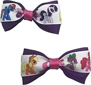 My Little Pony Girls Hair Bow Set, Little Girl Bows, Pigtail Hair Bows, Toddler Hair Bows,