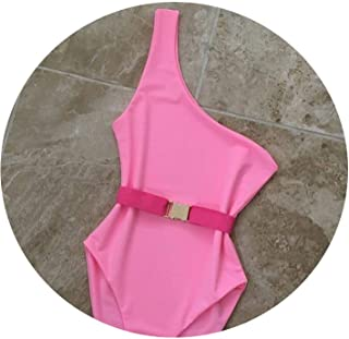 One Piece Badpak Pure Color Waistband One Piece Swimsuit Bathing Suit Swimwear Women