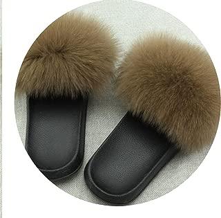 Fox Hair Shoes Cute Plush Fur Slippers Beach Sandals Shoes Comfy