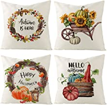 Taocci Set of 4 Fall Pillow Covers, Linen Fall Decor Throw Pillow Covers 18X18inch, Pumpkin Wreath Sunflower Autumn Home Decor Cushion Cover, Farmhouse Throw Pillow Cases for Sofa, Couch, Bed and Car