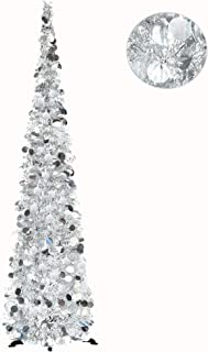 YUQI 6FT Pop Up Christmas Tinsel Silver Trees with Plump Shiny Sequins,Collapsible Artificial Pencil Xmas Tree Reusable with Plastic Stand for Fireplace & Office & Classroom,Party Decor-Silver
