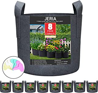 JERIA 8-Pack 3 Gallon Grow Bags, Aeration Fabric Pots with Handles (Black)