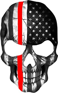 K9King Firefighter Sticker Thin Red Line Skull Subdued American Flag Sticker. 6 x 4 inch Reflective Firefighter Support Decal