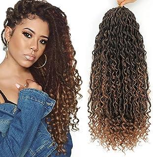 6 Packs Curly Faux Locs Crochet Hair, 18 Inch Goddess Locs Crochet Hair Hippie Locs Synthetic Braids, Boho Style, Hair Ext...