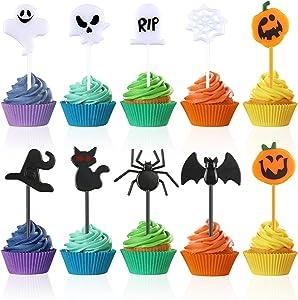 Gueevin 100 Pieces Halloween Plastic Picks Funny Plastic Picks for Cupcake Food Cupcake Toppers Decorations with Pumpkin Bat Spider Design Halloween Food Toothpick for Halloween Party Dessert Decors
