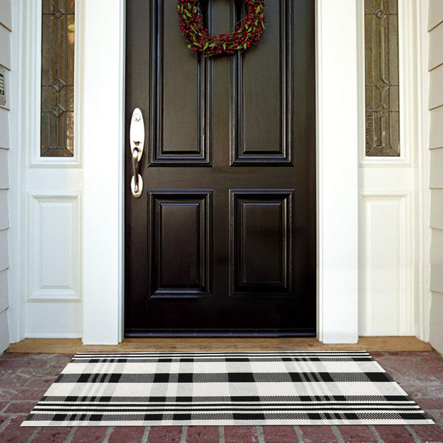 Buffalo Plaid Phoenix Mall Outdoor Rug At the price of surprise Runner Co Collive Black Doormat White