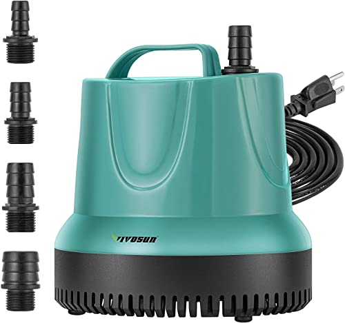 VIVOSUN 660GPH Submersible Pump (2500L/H, 40W), Ultra Quiet Water Pump with 8.2ft High Lift, Fountain Pump with 5ft Power Cord, 4 Nozzles for Fish Tank, Pond, Aquarium, Statuary, Hydroponics