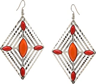 Earrings Orange & Red Beaded Silver Metal Dangle Carved Diamond Shaped For Women and Girls