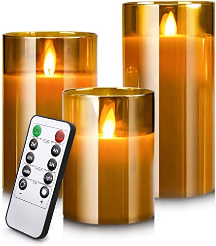 lowest Led lowest Flameless Candles, Battery Operated Real Pillar Wax Flickering Moving Wick Effect Glod Glass Candle Set with Remote Control Cycling Timer, 4 inch, 5 inch, 6 inch, Pack popular of 3 online