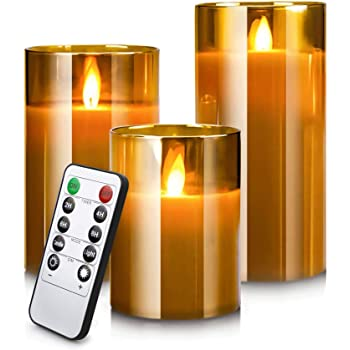 Led Flameless Candles, Battery Operated Real Pillar Wax Flickering Moving Wick Effect Glod Glass Candle Set with Remote Control Cycling Timer, 4 inch, 5 inch, 6 inch, Pack of 3