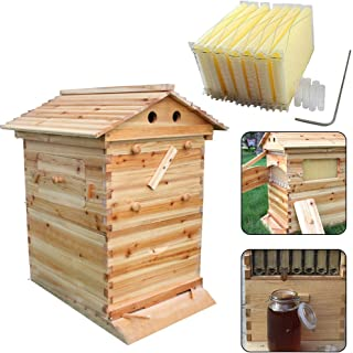 Auto Honey Hive Beehive Frames + Beekeeping Wooden House Beehive Boxes -7Pcs Auto Beehive Frame Comb - Bee Hive Boxes - for Beekeepers Food Grade BPA