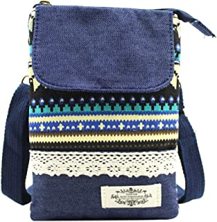 Aimeio National Style Canvas Crossbody Bag Cell Phone Purse Pouch Mini Shoulder Bag for Women