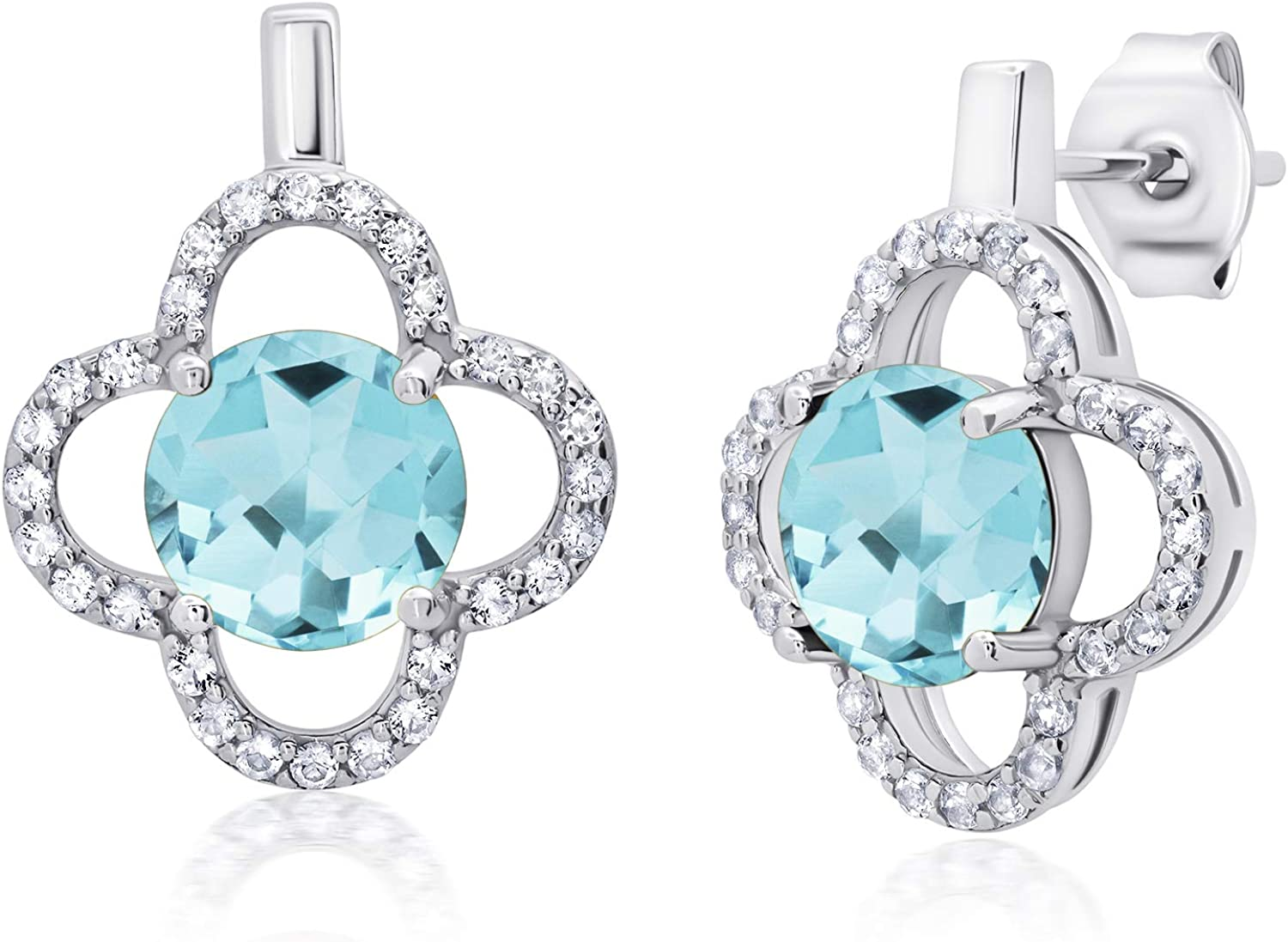 Genuine White Topaz Clover Indianapolis Mall Stud 7mm Online limited product or Earrings Cre with