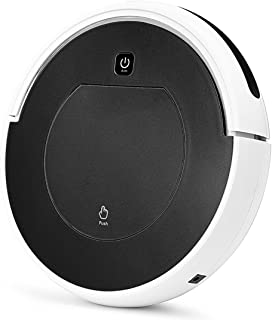 FENGRUI Robot Vacuum Cleaner Automatic Mini Strong Suction Remote Control HEPA Filter Robotic Vacuums for Dog Pets Hair Hardwood Floor Surfaces 11.4x11.4x2.95 Inches (Black)