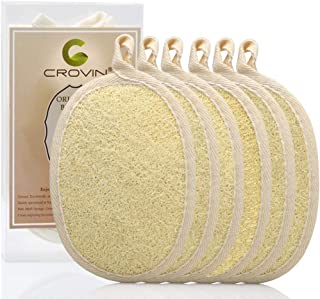 Crovin Loofah Pads - Exfoliating Loofah Body Scrubber 100% Natural Bath Sponge for Men and Women's SPA - 6 Packs Gifts Luf...