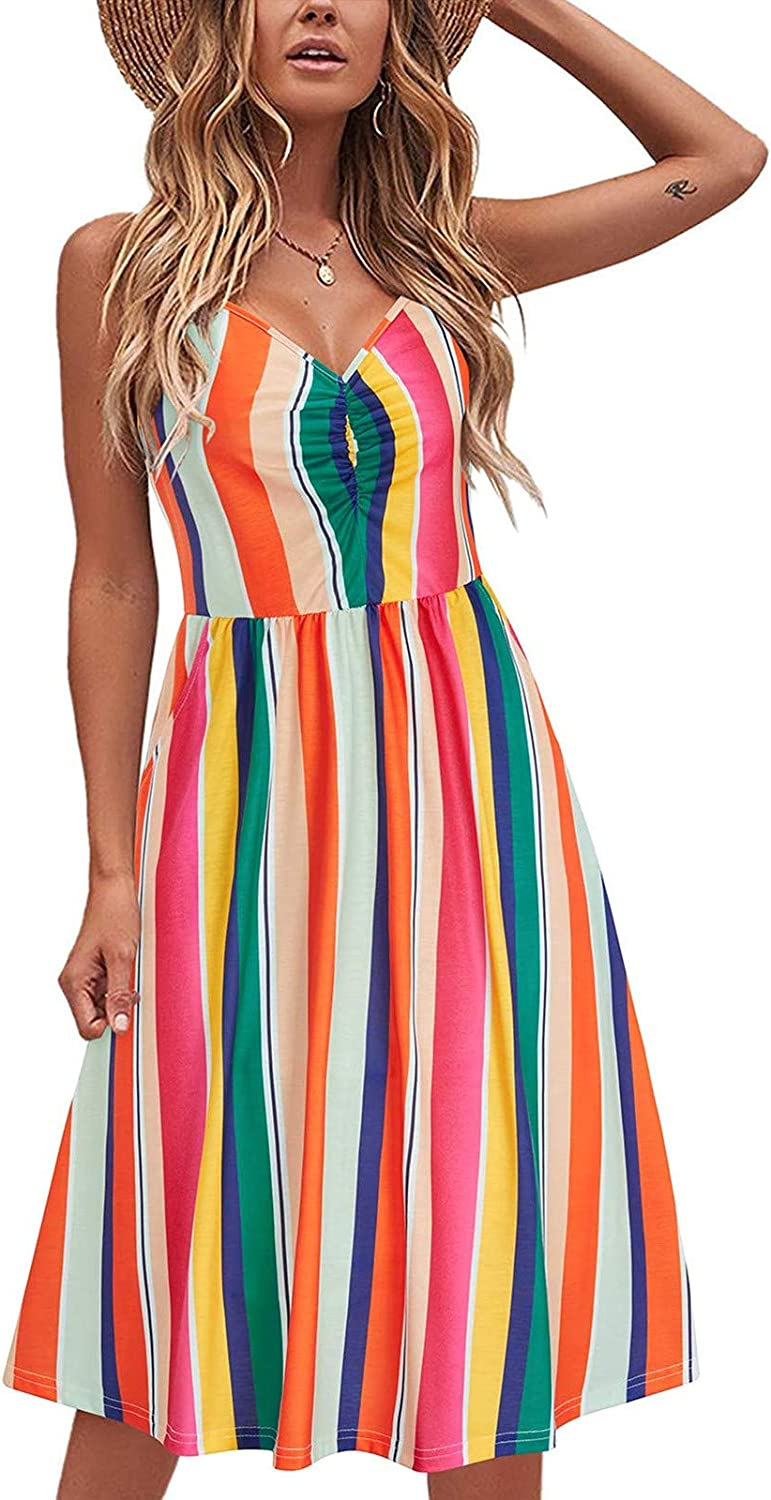 TAYBAGH Summer Dresses for Women, Womens Casual Lace-up Sling Temperament Knee-Length Dress Bohemian V-Neck Sexy Dresses
