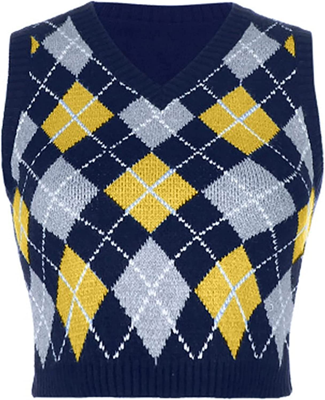 FEESHOW Women Streetwear Our shop most popular Preppy Style Knitwear Tank OFFicial V Tops Neck