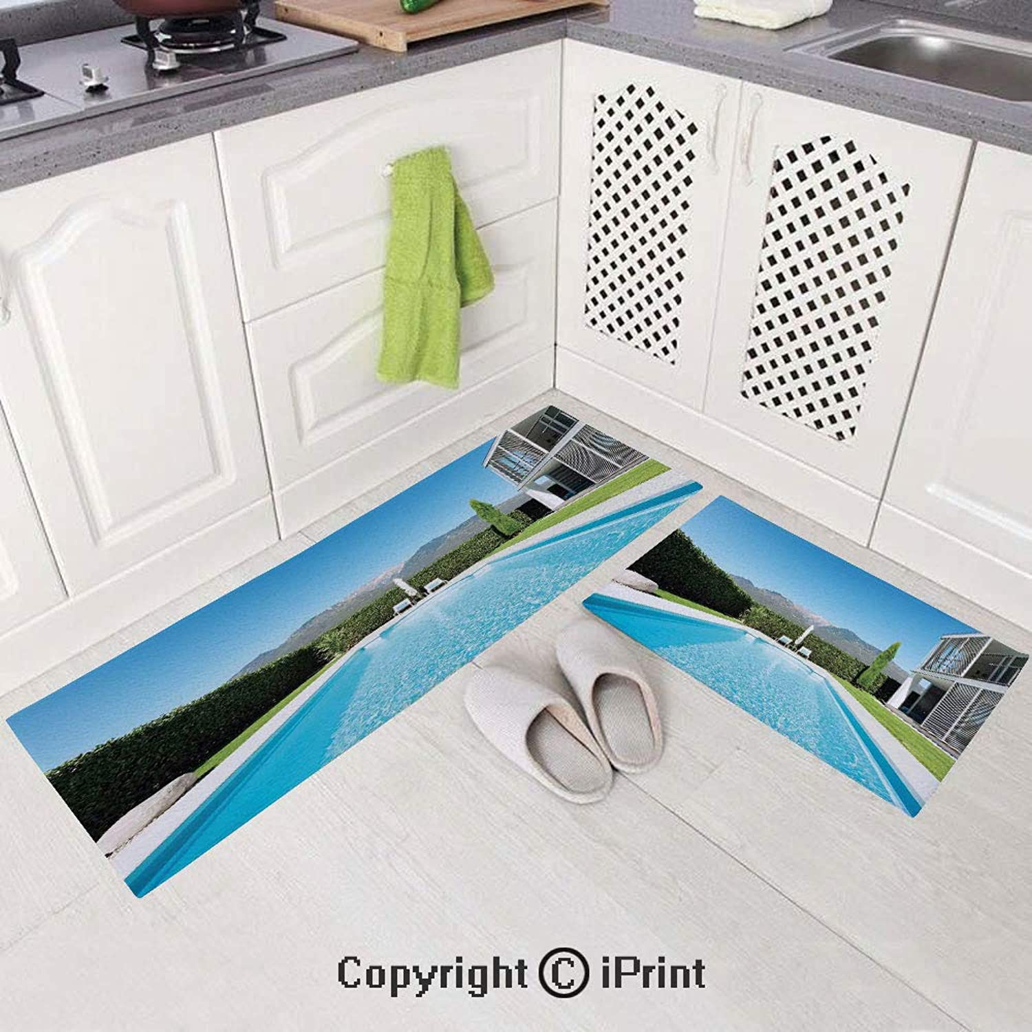 2 Piece Flannel Kitchen Rugs Cushioned Chef Soft (15 x47 +15 x23 ) Modern Villa with Pool View from The Garden Real Estate Contemporary Property,Non-Slip Rubber Back Floor Mats Washable Doormat